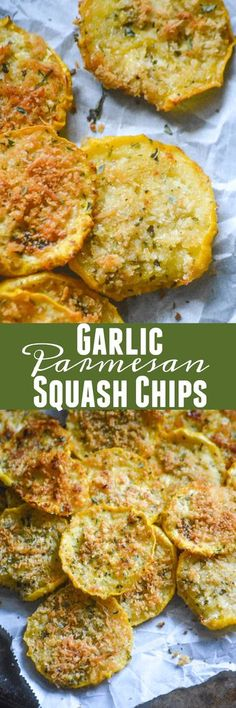 Craving a crisp snack like chips? Skip the store-bought potato version, and opt for these flavorful, healthier, baked Crispy Garlic Parmesan Squash Chips instead. You won't be disappointed, and I promise you they'll satisfy any crunch craving.