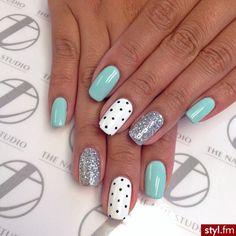 Mint, silver, polka dot manicure