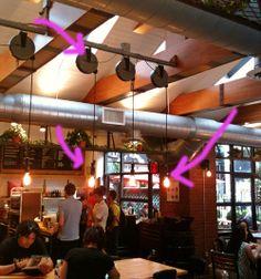 Pulley lighting in a Restaurant on Lafayette Street, Soho Park