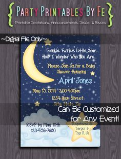 Printable Baby Shower Invitation ~ Twinkle Twinkle Little Star Baby Shower Vertical~ I128