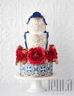 Azulejos and Peonies by Jen La - JENLA Cake - http://cakesdecor.com/cakes/249051-azulejos-and-peonies