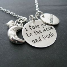 I Love You to the Moon and Back Hand Stamped  Necklace - Personalized Jewelry