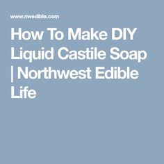 How To Make DIY Liquid Castile Soap | Northwest Edible Life