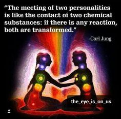"""The Meeting Of Two Personalities Is Like The Contact Of Two Chemical Substances: If There Is Any Reaction Both Are Transformed."" Carl Jung Your Twin Flame! Carl Jung, Twin Flame Love, Twin Flames, Love Quotes, Inspirational Quotes, Motivational, Rumi Quotes, Quotes Images, Twin Souls"