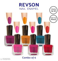 Nails  Premium Glossy Nail Polish(Pack of 6)  *Product Name* Revson Nail Polish  *Product  Type* Nail Polish  *Brand Name* Revson  *Capacity* 14 ml  *Shade* Multicolour  *Finish Type* Glossy  *Applicator * Brush  *Package Contains* It Has 6 Pack of Nail Polish  *Sizes Available* Free Size *   Catalog Rating: ★4 (6058)  Catalog Name: Nail Polish Revson Premium Glossy Nail Polish Combo Vol 1 CatalogID_125966 C51-SC1244 Code: 631-1039100-