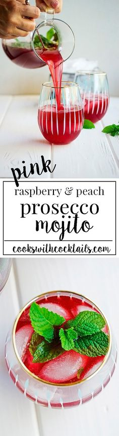 Raspberry and Peach Pink Prosecco Mojito! via @CookswCocktails