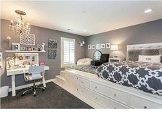 Gray and white bedroom, lifted bed, built in storage. Check out our site for helpful information