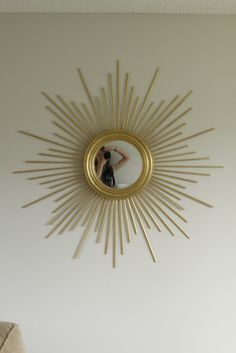 DIY sunburst mirror diy-crafts-home-decor Home Decor Mirrors, Diy Home Decor, Diy Wall Art, Diy Art, Sun Mirror, Convex Mirror, Do It Yourself Baby, Starburst Mirror, Homemade Home Decor
