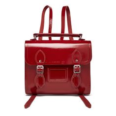 The Cambridge Satchel Company Women's Barrel Backpack - Patent Red (11.770 RUB) ❤ liked on Polyvore featuring bags, backpacks, day pack backpack, patent leather backpack, top handle bags, magnetic bag and patent bag