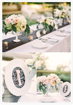 """""""They created these sweet and feminine table numbers by gluing blush painted wooden table numbers inside frames with coordinating textiles as backing."""""""