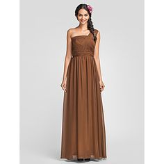 Sheath/Column One Shoulder Floor-length Chiffon Bridesmaid Dress(605526) – USD $ 67.99