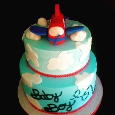 Airplane theme Baby Shower Cake