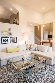 This contemporary living space uses pattern and white space to create a fun, open area. #starktouch #elenacalabrese