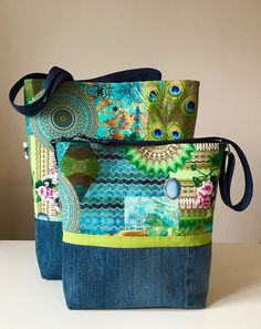 My work! Shoulderbag, Crossbag, Jeans, denim, recycling, mandala, blue, green, summer