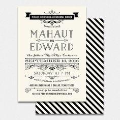 Wedding rehearsal dinner invitation DIY by bonjourpapershop
