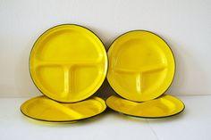 Vintage yellow enamel plates
