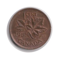 Canada One Cent 1953 Coin (Code:JMC2144) by COINSnCARDS on Etsy