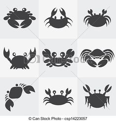 Vector - Set of vector crab icons - stock illustration, royalty free illustrations, stock clip art icon, stock clipart icons, logo, line art, EPS picture, pictures, graphic, graphics, drawing, drawings, vector image, artwork, EPS vector art
