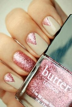#Wicksteads Butter London Baby Glittery Pink Nail Varnish Triangle Design #Nails
