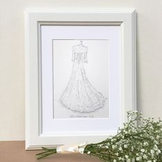 A beautiful hand illustration of your wedding dress, using coloured inks and watercolours on high quality paper stock. Drawn from a photograph you supply.