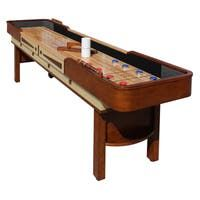 Shop Challenger 9-Ft Shuffleboard Table - Dark Cherry Finish - Overstock - 6217673 Shuffleboard Games, Cool Basement Ideas, Cherry Finish, Table Games, Built In Storage, Fun Diy, Poker Table, Game Room, Retirement