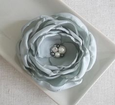 Light gray, Pale gray fabric silk flower Bridesmaids Bridal hair pin clip grip, Dress sash Ornament Weddings, Birthday Gift Shoe clip Brooch