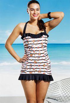 c5abddd5303 Jessica Simpson Plus Size Rose Colored Glasses Ruffle Swimdress Jessica  Simpson Swimwear