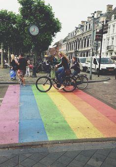 "mygayisshowing: "" Pride crosswalk in Maastricht, The Netherlands """