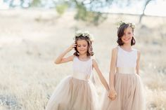 Taupe Flower Girl Dresses Photography: Elisabeth Millay Photography Read More: http://www.insideweddings.com/weddings/romantic-neutral-hued-wedding-at-a-paso-robles-california-vineyard/585/