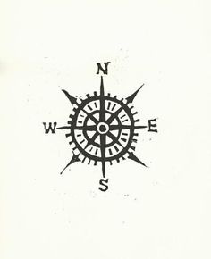 Items similar to Compass linocut print - Cardinal directions letterpress nautical art poster in black on Etsy Bild Tattoos, Neue Tattoos, Cool Tattoos, Tatoos, Awesome Tattoos, Map Tattoos, Pretty Tattoos, Tattoo Quotes, Cardinal Directions