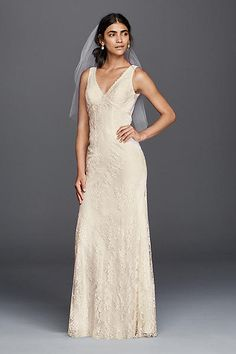 Flower Lace V-Neck Wedding Dress with Empire Waist Style KP3783