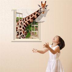 Newest waterproof 3D giraffe cute cartoon decorative children wall sticker