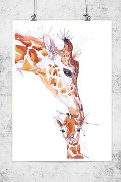 Giraffe Art Watercolor Nursery Decor Baby Painting Wildlife Wall art Animal Print Mother and baby Mom Gift Children Watercolour Illustration Giraffe Painting, Giraffe Art, Baby Painting, Giraffe Nursery, Safari Nursery, Kids Room Wall Art, Nursery Wall Art, Nursery Decor, Wall Decor