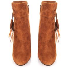 Aquazzura Coachella suede ankle boots ($372) ❤ liked on Polyvore featuring shoes, boots, ankle booties, chunky heel booties, suede ankle boots, tan ankle boots, tan booties and suede bootie