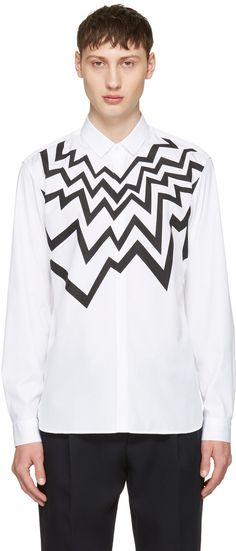 NEIL BARRETT White Serrated Fairisle Shirt. #neilbarrett #cloth #shirt
