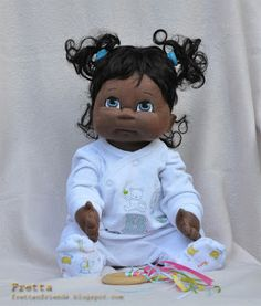 "Fretta: Dark Skinned Life size 48 cm / 19"" Soft Sculpture Baby, Child Friendly Cloth Baby Doll."