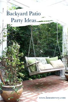 Patio Porch Swing and Outdoor Throw Pillows - Backyard Patio Party Ideas