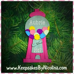 One of a kind handcrafted and personalized Christmas Ornaments & Magnets for your holiday and FE gift needs, made by Keepsakes by Nicolina! Bubble Gum Machine, Gumball Machine, Keepsakes, Personalized Gifts, Bubbles, Christmas Ornaments, Holiday Decor, Souvenirs, Customized Gifts