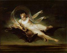 "twirld: Ariel on a Bat's Back (exhibited. twirld: "" Ariel on a Bat's Back (exhibited Henry Singleton "" Ariel, Art Magique, Google Art Project, Joseph Mallord William Turner, Oil On Canvas, Canvas Prints, Bullen, Creatures Of The Night, Mystique"