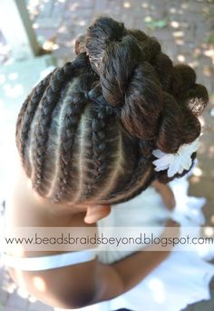 Beads, Braids and Beyond: Natural Flower Girl Updo with Cornrows and Twists - Hair Ideas Princess Hairstyles, Flower Girl Hairstyles, Little Girl Hairstyles, Braided Hairstyles, Cool Hairstyles, Wedding Hairstyles, Kids Hairstyle, Toddler Hairstyles, Popular Hairstyles