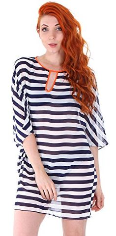 Simplicity Womens Plus Size Chiffon Beach Bikini Stripes Swimwear Coverups -- Click image for more details.