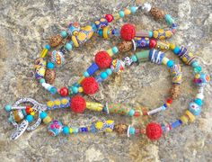 BOHO NECKLACE jewelry African trade beads by TheSageWreath on Etsy, $65.00