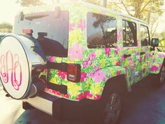 Lilly Pulitzer and monogrammed car. Too much! It's not a small and discrete statement like an iPhone cover, silly.