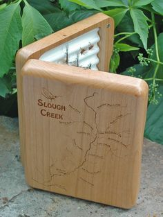Stonefly Studio's  - SLOUGH CREEK RIVER MAP FLY BOX - Load the box with flies specific to the creek, put your favorite fly fishing person's name on the back along with an inscription for a special one-of-a-kind gift. Only $89 includes engraving (flies not included). Handcrafted in Montana.  Fly Fishing Slough Creek Yellowstone National Park Wyoming-Montana.