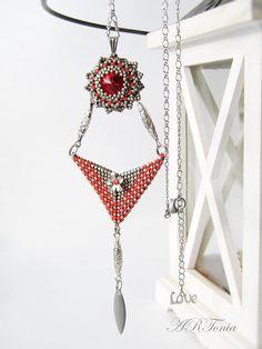 Beadwoven geometric pendant handmade Swarovski red gray