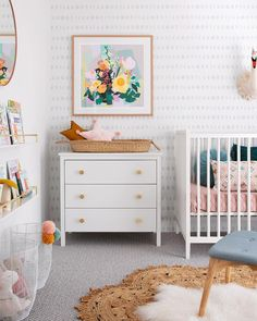 What I'm Thinking for a Baby Boy or Baby Girl Nursery + Inspiration Chic Nursery, Nursery Neutral, Nursery Room, Kids Bedroom, Baby Room, Kids Rooms, Wall Paper Nursery, Wallpaper For Nursery, Nursery Book Shelves