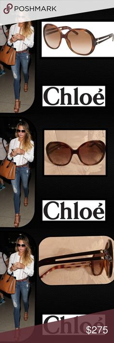 🦋Chloe' 🌹Oversized Sunglasses Give summer looks a glamorous finishing touch with these oversized sunglasses from Chloe🌹Classically elegant and effortlessly chic.A true statement pair, the striking shades also offer full UV protection🌹Striped arms Made in Italy Chloe Accessories Sunglasses