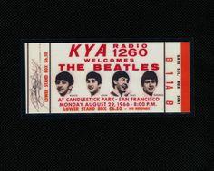 The Beatles 1966 Concert Ticket Candlestick Park San Francisco, CA 8/29/1966-A