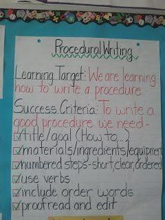 procedural writing - learning goal and success criteria Talk 4 Writing, Writing Workshop, Teaching Writing, Writing Activities, Teaching Ideas, Kindergarten Writing, Teaching Tools, Writing Genres, Writing Strategies