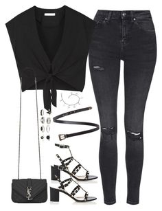 """""""Untitled#4320"""" by fashionnfacts ❤ liked on Polyvore featuring Topshop, Alice + Olivia, Valentino and Yves Saint Laurent"""